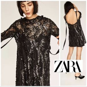 Zara Sequin High Neck tie open back Dress